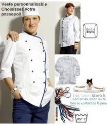 veste cuisine homme personnalisé veste cuisine femme avec liseré comfortech stretch peut bouillir
