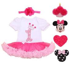 2017 1 year birthday dress for 1st first baby clothing pink