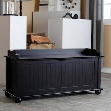 narrow storage bench image black paint color made from wood