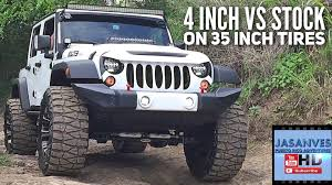 jeep jku 35s 4 inch lift vs stock with 35 inch tires articulation offroading