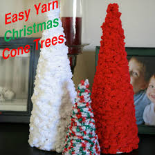 emmy mom one day at a time diy yarn christmas cone trees
