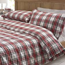 glencoe red tartan brushed cotton duvet cover set by marquis