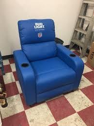 light blue recliner chair bud light nfl licensed blue recliner furniture in bloomington in