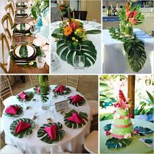 Leaf Table Runner 48pcs Tropical Palm Leaves Diy Artificial Leaves For Summer Theme