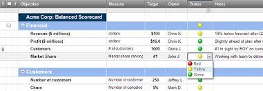 Goals And Objectives Template Excel Balanced Scorecard Dashboard Template Smartsheet