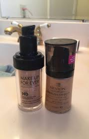 makeup forever airbrush dupe duels mufe hd foundation vs revlon photoready through the
