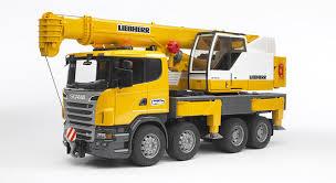 bruder excavator bruder scania r series liebherr crane with lights and sounds die