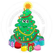 cartoon smiling cute christmas tree with gifts by clairev toon
