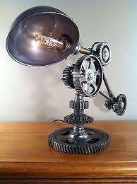 industrial desk lamp machine gear task light steampunk rat rod