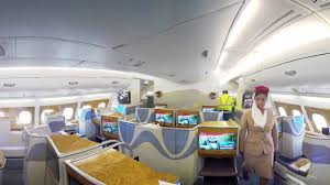 Emirates Airbus A380 Interior Business Class Emirates Airbus A380 360 Video Emirates Airline Youtube