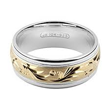 wide wedding bands alain raphael 2 tone sterling silver and 10k yellow gold 8