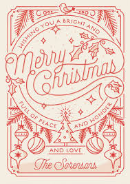 merry drawing holiday card minted