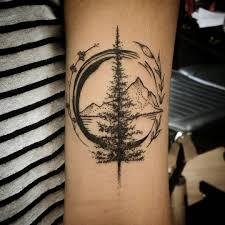 travel tattoo images Wonderful mountain travel tattoo on forearm jpg