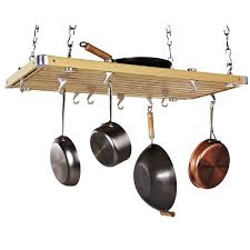 Hanging Pot Rack In Cabinet by Interior Hanging Pots And Pans Rack Made From Wooden Combine With
