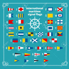Nautical Code Flags International Maritime Signal Flags Sea Alphabet Flat Vector