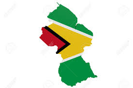 Guyana Flag Map Of Guyana In The Colors Of The National Flag Stock Photo