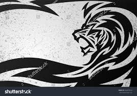tribal lion tattoo design grunge texture stock vector 284870516