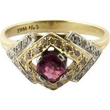antique art deco two tone 14k white and yellow gold ruby diamond