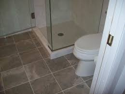 brown tiles flooring of bathroom design idea completed with glass
