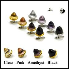 Types Of Dermals 1pc 316l Stainless Steel Assorted Colors Glass Cone Top Dermals