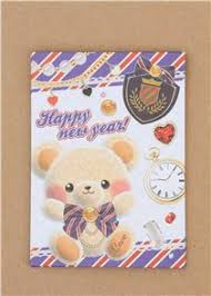 new year pocket kawaii blue mini envelope with teddy happy new year pocket
