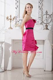 Pink And Black Bridesmaid Dresses Made Flowers Decorate Pink Bridesmaid Dress With Black Sash