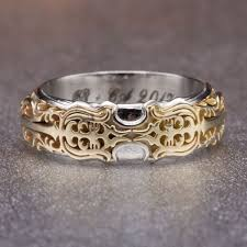 silver engagement ring gold wedding band geeky engagement rings nerdy wedding bands custommade