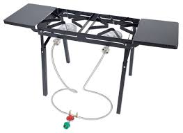 bayou classic double burner outdoor stove with folding side