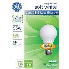 53 watt ge energy efficient a19 lightbulb soft white staples