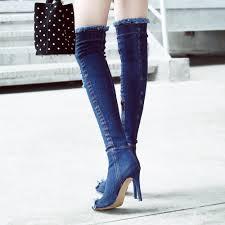 arden furtado blue denim boots over the knee thigh high summer