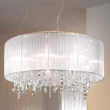 shade crystal chandelier crystal chandelier with sheer drum shade tendr me and 6 92