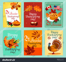 thanksgiving day greeting cards elements traditional stock vector