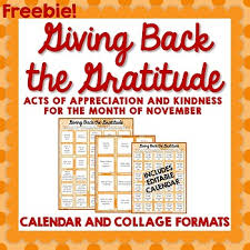 thanksgiving gratitude and kindness calendar and activities by