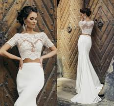 wedding dress jacket 2017 chic crop top mermaid wedding dresses illusion bodice