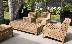 Great Patio Designs by Great Patio Set Up With Lawn Furniture Featuring Long Wooden Low