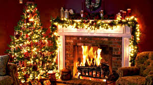 christmas fireplace wallpaper