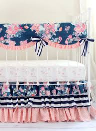 Coral Nursery Bedding Sets by Navy Floral Blend Bumperless Baby Bedding Set Rail Cover
