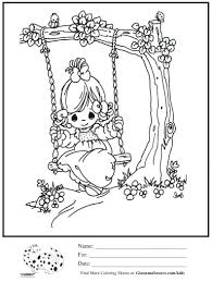 precious moments coloring page tree swing ginormasource kids