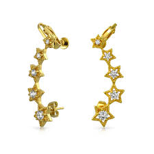 cartilage earrings cz angel wings dangling briolette cartilage earrings gold plated