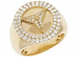 men gold rings 10k yellow gold real diamonds mercedes men s designer ring 1 ct 20mm