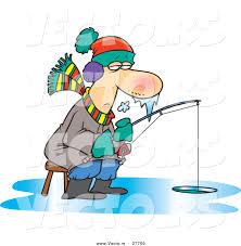 vector frozen cartoon man fishing ice toonaday 27700