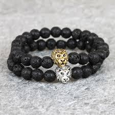 silver energy bracelet images Men 39 s gold silver lion head bracelet 8mm matte lava stone energy jpg