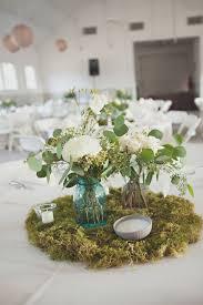 Mason Jar Vases Wedding Moss Centerpieces Aqua And Clear Mason Jar Vases Moss
