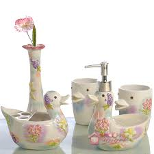 cartoon duck ceramic toothbrush holder soap dish bathroom
