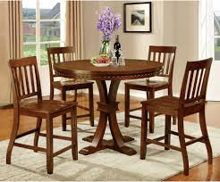 Dark Oak Dining Table Furniture Of America Fort Wooden 5 Piece Counter Height Round