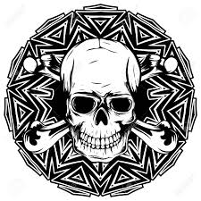 abstract vector illustration black and white human skull with