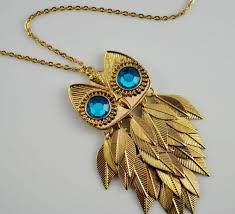 long gold owl necklace images Designs of attractive owl pendant jewelry with long chain for jpg