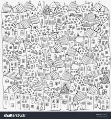 pattern for coloring book with artistically houses street