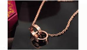 cartier love necklace images Cartier love 2 ring charm necklace in 18k pink gold ref b7013900 jpg
