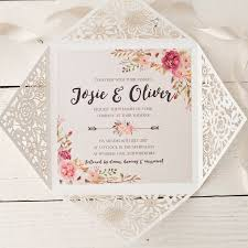wedding invitations floral peony floral design laser cut wedding invitation by wolfe